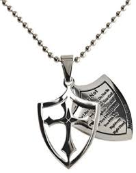 stainless steel ball necklace images Fear not necklace two piece cross shield with bible verse jpg