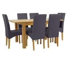 Buy Collection Swanbourne Ext Oak Vnr Table   Chairs Charcoal - Argos kitchen tables