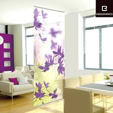 sliding door room divider beautifully purple flower patterns