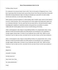 nursing recommendation letter sample recommendation letter for