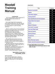 mazda 6 2003 2007 training manual motor oil piston