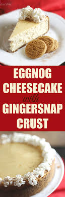 eggnog cheesecake with gingersnap crust bakes