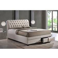 Overstock Bed Frame Baxton Studio Ainge Contemporary Button Tufted Light Beige Fabric