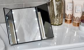tri fold mirror with lights globrite eight led tri fold mirror groupon goods
