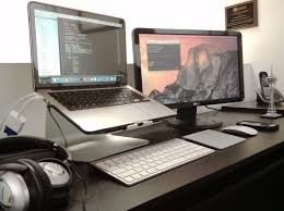mac setup the dual screen desk of a software engineer osxdaily