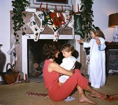 jacqueline kennedy with caroline and john jr on christmas day in