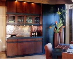 copper backsplash ideas home bar rustic with wine refrigerator