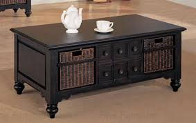 black coffee table with storage coffee table in black finish with storage basket by coaster 700478