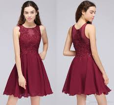 burgundy lace beaded a line chiffon short homecoming dresses