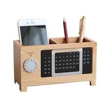 organiseur de bureau en bois porte stylo de bureau avec calendrier en bois stylo pot bureau