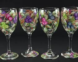 painted wine glasses etsy