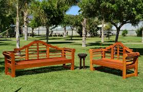 wood outdoor bench with contoured seating forever redwood