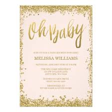 oh baby blush pink gold glitter baby shower card zazzle