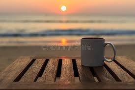 Sunrise Sunset Table Coffee Cup On Wood Table At Sunset Or Sunrise Beach Stock Image
