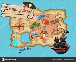 Treasure Island Map Map Of Treasure Island For Pirate Quest U2014 Stock Vector Alisarut