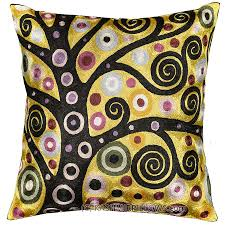 Modern Cushions For Sofas Klimt Throw Pillow Soulful Tree Of Silk Embroidered 18