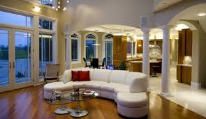 white sofa and columns in living room neo classical style
