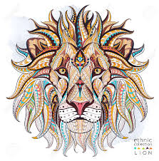 tattoo design lion patterned head of the lion on the grunge background african