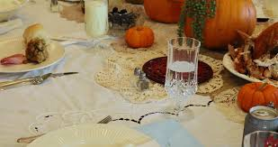 a delicious thanksgiving table with traditional food stock footage