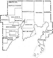 Mi County Map Delta County Migenweb Township Map