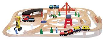 amazon com deluxe wooden railway set by melissa u0026amp doug toys