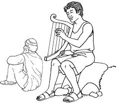 david play harp in the story of king saul coloring page netart