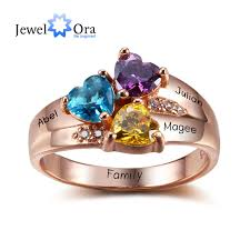 day rings personalized personalized engrave jewelry 3 birthstone mothers rings 925 sterling