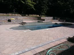 Large Paver Patio by Amazing Pool With Large Paver Patio Steps And Wall Built By