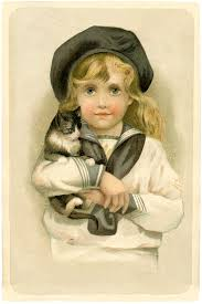 vintage child with cat image sweet the graphics fairy