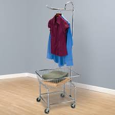laundry basket on wheels with hanging bar made of chrome stainless