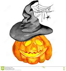 halloween pumpkin in a witch hat with spider web stock