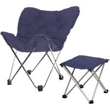 Folding Butterfly Chair Your Zone Butterfly Chair With Footrest Navy Walmart Com
