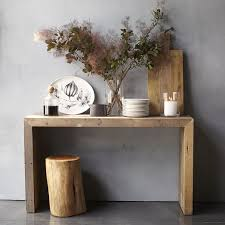 light wood console table emmerson reclaimed wood console west elm