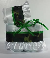 diaper cake beautiful bassinet carriage baby shower neutral camo