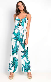 strappy jumpsuit trese tropical strappy jumpsuit in white ikrush
