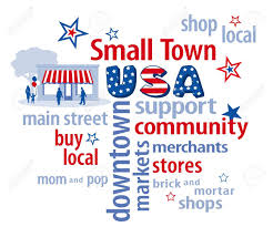 small town usa word cloud store graphic in red white and blue