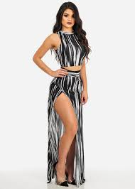 two dress set and white ribbed crop top and maxi skirt two dress set