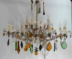Coloured Chandelier by 12 Arm Marie Therese Chandelier With Earthy Coloured Drops The