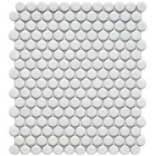penny round tile  white matte finish  discount glass tile store with image  from discountglasstilestorecom