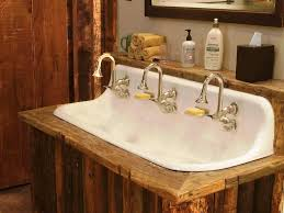 image of rustic trough style bathroom sinks tamarac kids bath