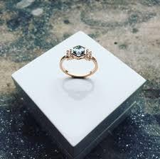9ct rose gold aquamarine and diamond art deco style ring david