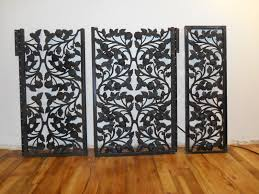 metal room divider rare ornate antique 3 panel wrought iron window grill or room