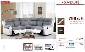canap d angle vente unique canapé d angle relax bilston en microfibre et simili gris canapé