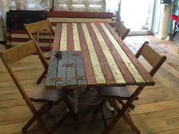 barn wood flag turned picnic table high cotton junk