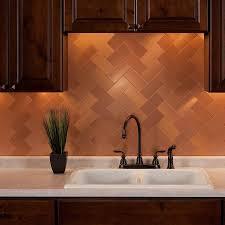 aspect 3x6 brushed copper short grain metal backsplash tile