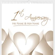 1st year wedding anniversary personalised paper anniversary calendar 1st edition