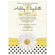 Holy Communion Invitation Cards Samples Communion Invitation Daisy Polka Dot Ribbon
