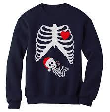 Pregnancy Halloween Costumes Skeleton by Christmas Pregnant Skeleton Xray Sweatshirt Announcement Gift Baby