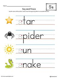 say and trace letter s beginning sound words worksheet color