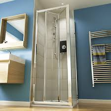 bifold shower door frameless wickes square bi fold semi frameless recess shower door chrome